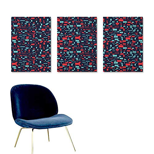 (J Chief Sky Geometric,Wallpaper Sticker Abstract Arrangement with Stripes and Squares on a Dark Background Poster Printing Dark Blue Red Turquoise W24 x L48)