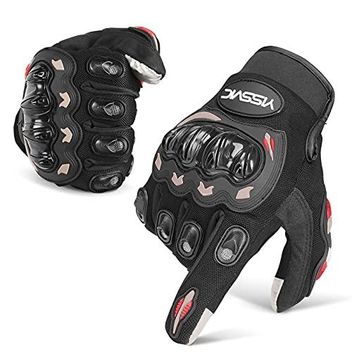 YISSVIC Motorrad-Handschuhe für Herren, CE-Prüfzeichen, 1KP, rutschfest, voller Finger, Touchscreen mit atmungsaktiven…