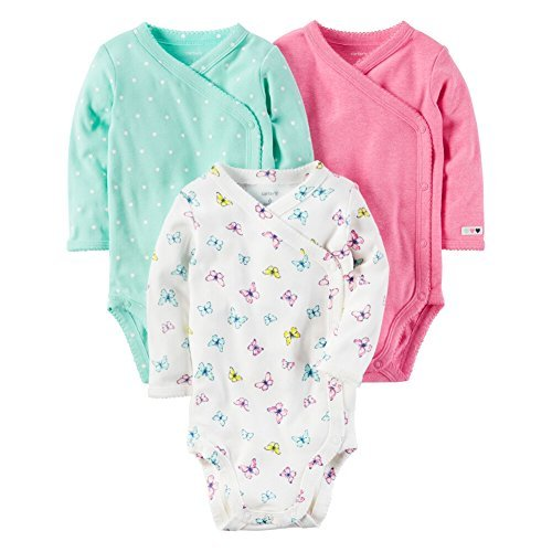 Baby Wrap Bodysuit - Carter's Baby Girls' 3-Pack Side Snap Bodysuits 9 Months
