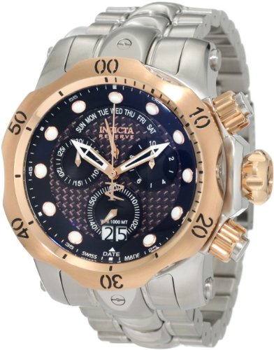 Invicta Men's 1541 Reserve Venom Chronograph Black Dial Stainless Steel Watch