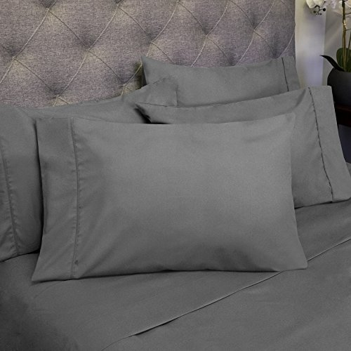 6 Piece 1500 Thread Count Egyptian Quality Deep Pocket Bed Sheet Set - 2 EXTRA PILLOW CASES, GREAT VALUE - King, Gray