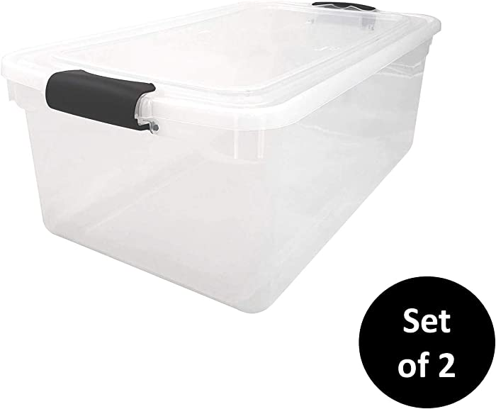 HOMZ 3441CLGRDC.02 Clear Storage Container with lid, 64 Quart (2 Pack), Grey, 2 Sets
