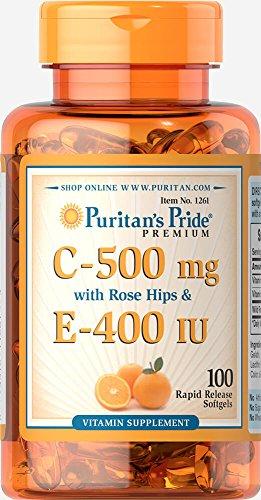 Puritan's Pride Vitamin C & E 500 mg/400 IU with Rose Hips-100 Softgels
