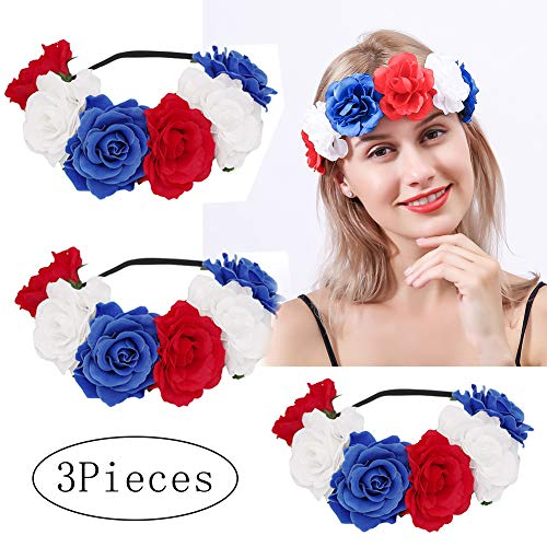 3 Pack 4th of July Headband, Rose Floral Flower Crown Stretch Headband 4th of July Hair Crown Accessories Hairband Hair Garland Patriotic Flower Crown Headband for Independence Day Garland Party