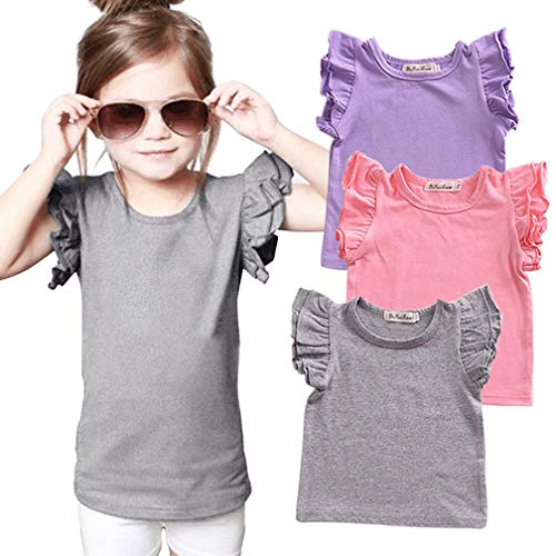 EGELEXY Toddler Baby Girl Basic Plain Ruffle Tee Little Girls Sleeve Short Cotton T Shirts Tops Tee Casual Clothes Size 3-4 Years/Tag110 (Gray)