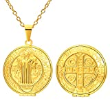 FaithHeart Saint Benedict of Nursia Pendant Chain Gold Plated Bless Locket Necklace Religious Accessories (Round,Gold)