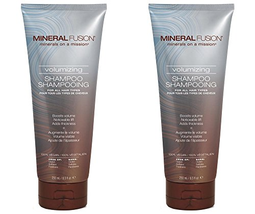 Mineral Fusion Volumizing Shampoo (Pack of 2) with Certified Organic Aloe Vera Leaf Juice, Malachite Extract, Smithsonite Extract, Jojoba Seed Oil, Montmorillonite Clay and Olive Oil, 8.5 fl. oz. (Olive Fusion Oil)
