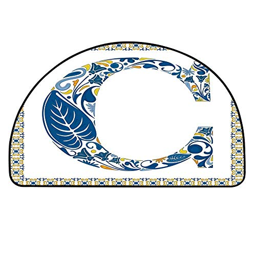 (YOLIYANA Letter C Entry Mat Rugs,Portuguese Culture Inspired Natural Elements in Letter C Alphabet Print Decorative for Front Door,19.6