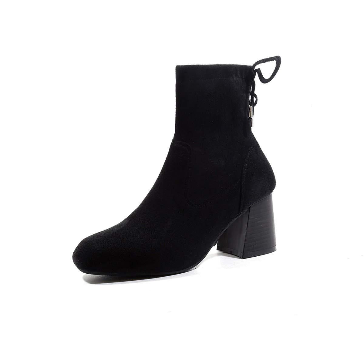LBTSQ-Platz Kopf Gummi Stiefel Frauen Schuhe Stiefel Pumps Stiefel 7Cm Skinny Mode.