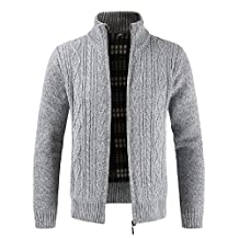 Yuxikong Mens' Top Coat, Winter Knitted Coat Hooded Sweater Jacket