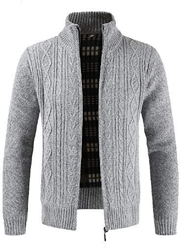 ファッション メンズジッパーフード付きジャケット 襟ニットカーディガン ニットジャガードコート 防風 防寒 冷却を防ぐ あたたかい 柔らかい