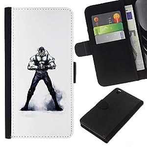 YiPhone /// Tirón de la caja Cartera de cuero con ranuras para tarjetas - Máscara de Venom - HTC DESIRE 816