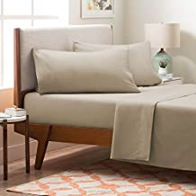 LinenSpa Brushed Microfiber Ultra Soft Bed Sheet Set, Wrinkle Resistant, Twin Size, Sand