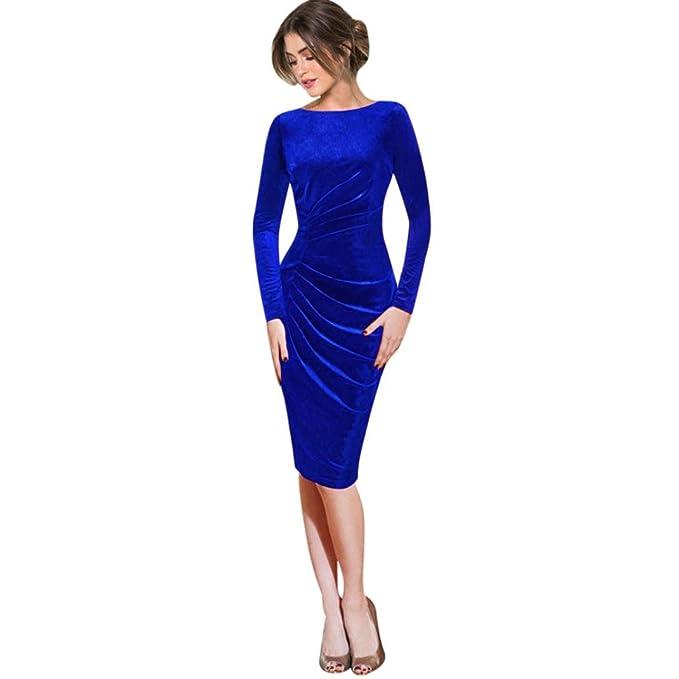 Kleid Damen Elegant Kleid Damen Langarm Samt Kleid Damen Abend Party ...