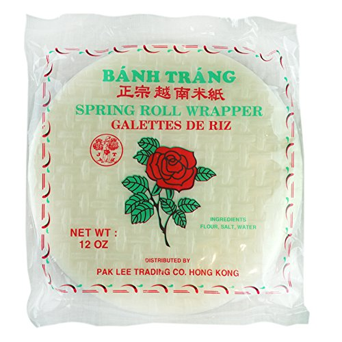 Spring Roll Wrapper Ingredients - Red Rose 22 cm Spring Rolls Paper Wrapper Roll Round Rice Banh Trang, Red, 12 oz. …
