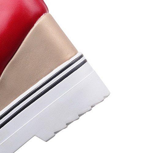 AllhqFashion Mujer Sólido Pu Tacón Alto Puntera Cerrada Puntera Redonda Cordones De salón Rojo