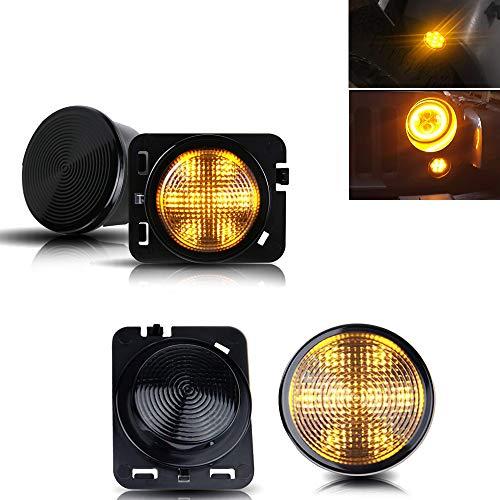 (TURBO SII Yellow LED Front Turn Signal Light & Fender Side Marker Light Smoke Lens for 2007-2018 Jeep Wrangler JK JKU)