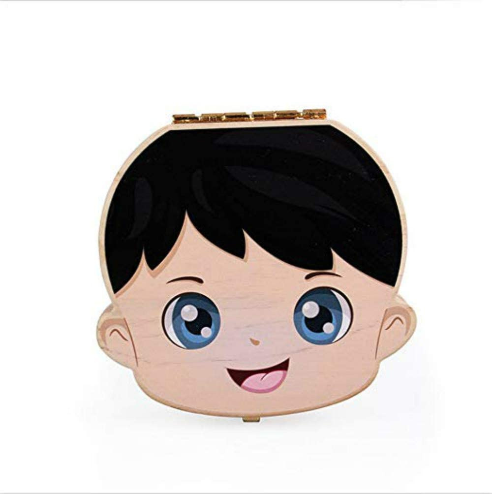 FILWO Baby Teeth Save Box Organizer Kids Tooth Box Wooden Handmade Keepsake Box,Cute Children Tooth Fairy Box Tooth Holder Container Child Tooth Storage Keep the Childwood Memory
