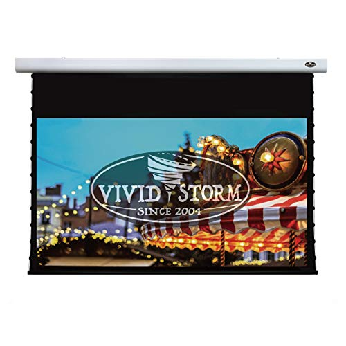 VIVIDSTORM 4K/3D/UHD Mortar Mount Tab-tensioned Screen,Electric Drop Down Projector Screen,120-inch Diagonal 16:9, with White V Cinema PVC, Wireless 12V Projector Trigger,Model:VXZLW120H