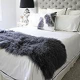 genuine grey Tibetan Mongolian Sheepskin lambskin bed scarf runner throw 19x51 / 50x130cm SINGLE DOUBLE bed