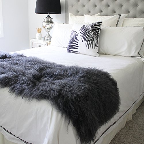 genuine grey Tibetan Mongolian Sheepskin lambskin bed scarf runner throw 19x51 / 50x130cm SINGLE DOUBLE bed