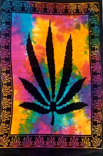 ICC Marijuana leaf Poster Cannabis leaf poster Hippie Decor Pot Flag Tapestry Wall Hanging Dorm Collage Color Me Weed Leaf Bohemian Art psychedelic Small Hippie Rasta Wall Hanging ganja 30x40 inches