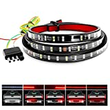 "Nilight TR-02 60"" Truck Tailgate Bar Double Row LED Flexible Strip Running Turn Signal Brake Reverse Tail Light,Red/White,No-Drilling"