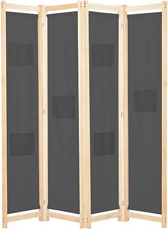 vidaXL Biombo Divisor de 4 Paneles de Tela Decoración Hogar Casa Jardín Bricolaje Salón Comedor Ambientes Habitaciones Separador 160x170x4 cm Gris: Amazon.es: Hogar