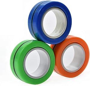 FThinkup Finger Magnetic Ring, Decompression Magnetic Magic Ring, Office Decompression Fingertip Toys, Finger Magnetic Ring Stress Relief Reducer for Adults Children -3 PCS (Colorful)