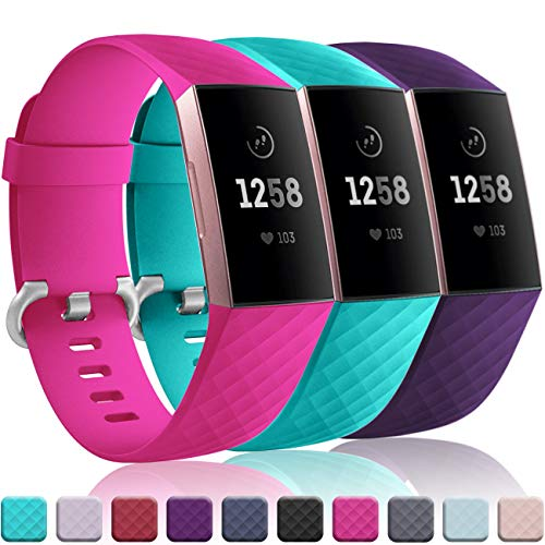 Wepro Bands Replacement Compatible Fitbit Charge 3 for Women Men Small, 3 Pack Sports Watch Band Strap Waterproof Wristband for Fitbit Charge 3 & Charge 3 SE Fitness Tracker, Teal, Rose Pink, Plum