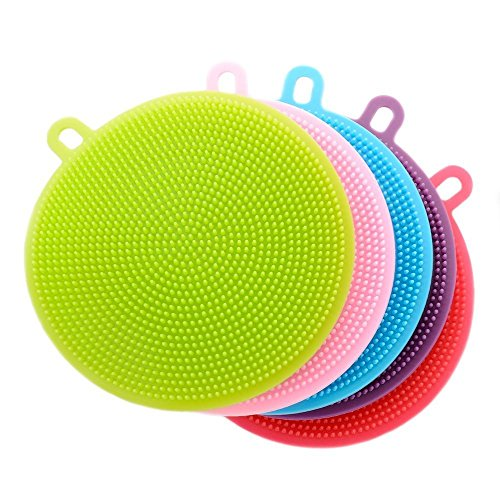 Fruit Bowl Panel (Viotyst Silicone Sponges, Food-Grade Mildew-Free Silicone Dishwashing Scrubber for Washing Pot, Pan, Bowl, Fruit Household Cleaning Sponges( 5 Pack))