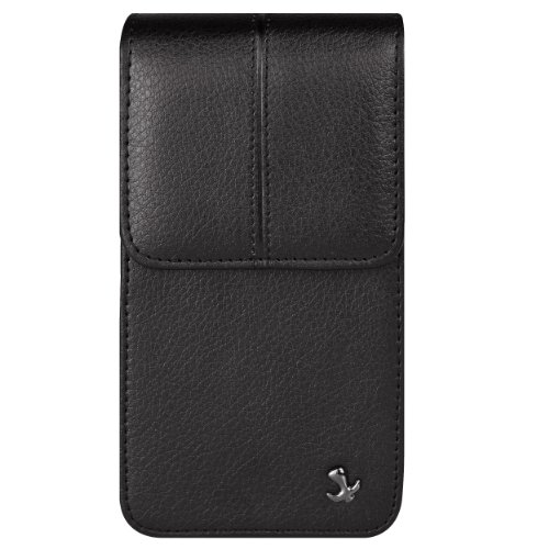 (VanGoddy Black Vertical Carrying Case Pouch Cell Phone Holster for Alcatel 1c 2019, Verso, Go Flip, QuickFlip)