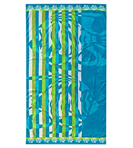 Espalma Over Sized Luxury Beach Towel, Large Size 70 Inch x 40 Inch Soft Velour and Reversible Absorbent Cotton Terry, Thick and Plush Jacquard Beach Towel, Two Fish