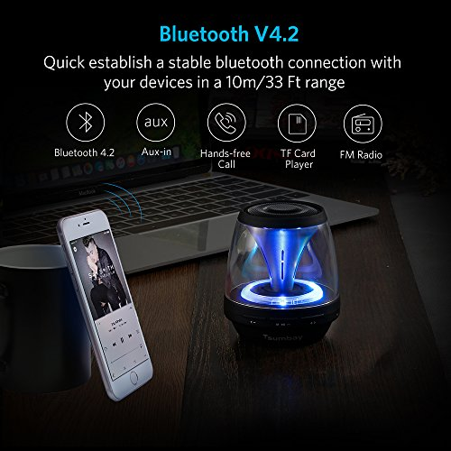 Tsumbay Vivid Sound Portable Bluetooth Speaker, Mini Speakers with Led Light and FM Radio, Wireless Sound Music Box Kid Boombox for iPhone, Samsung, iPad, PC Computer and More by Tsumbay (Image #1)