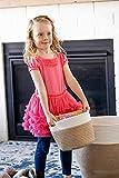 "Little Hippo 2pc Large Cotton Rope Basket (16""x15"") 100% Natural Cotton! Rope Basket, Woven Storage Basket, Large Basket, Blanket Basket Living Room, Toy Basket, Pillow Basket, Round Basket"