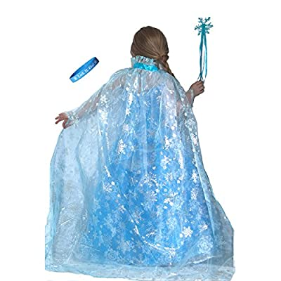 Frozen Inspired Ice Princess Shimmering Snowflake Cape with Wand & Let It Go Band