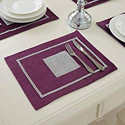 Sequined Rhinestone Purple Table Mats