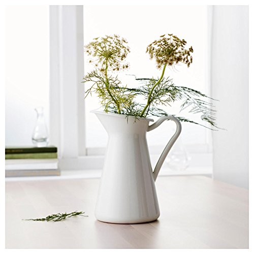 Enamel Jug (White Vintage Shabby Vase Enamel Pitcher Chic Cream Jug Pot Tall Metal Wedding Decor)