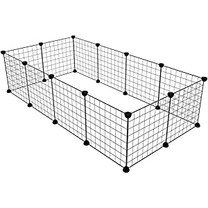KOUSI Small Pet Playpen, Metal Wire Apartment-Style Two-Storey Animal Fence and Kennel, Comfortable Pet Premium Villa for Guinea Pigs, Dwarf Rabbits 82