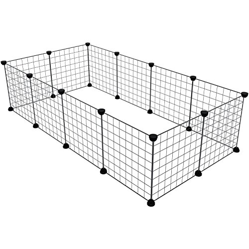 MAGINELS Pet Playpen, Small Animal Cage Indoor Portable Metal Wire Yard Fence for Puppy Small Animals, Guinea Pigs, Rabbits Kennel Crate Fence Tent, No Door,Black (12 Panels)