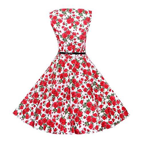 Bola Fajas Swing Vestido Mujer Slim Club fit Moda Fiesta Rojo Floral Dress Bodycon de para Playa Prom Sleeveless Primavera Jumper Vestido cuello Retro Cóctel con Elegante Formal O Traje de wqrqUXxAf