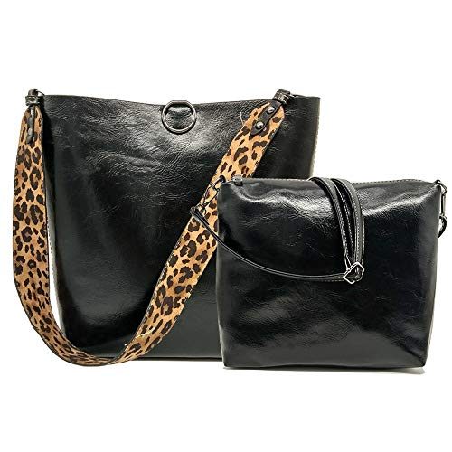 - Segater Women Leopard Print Bag Reversible Leather Tote Bag Oversized Top Handle Large Shoulder Handbag Purse 2 Pcs Black