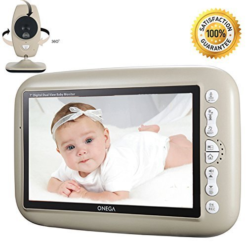"""ONEGA Baby Monitor Wireless Video with 7.0"""" Large LCD Screen Night Vision Camera, Video Recording & Two Way Audio System Onega"""