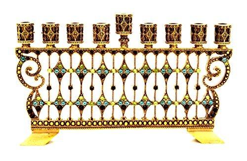 Decorative Pewter Menorah - Decorative Menorah Jeweled Swarovski Crystal Aqua and Peridot Antique Brass Plating