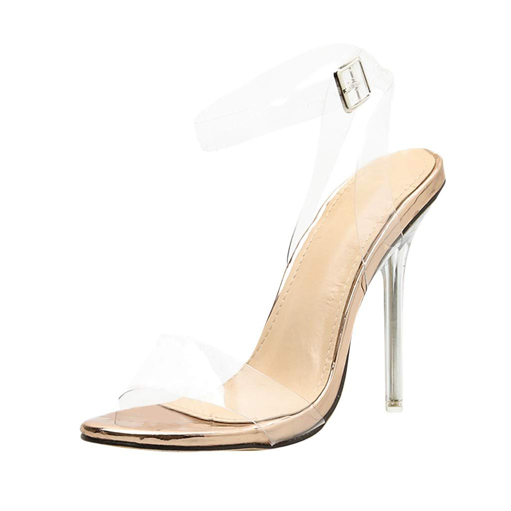Sanyyanlsy Woman Clear Strappy Single Band Stiletto Sandals Buckle High Heel Sandals Anniversary Club with Shoe Box Khaki by Sanyyanlsy