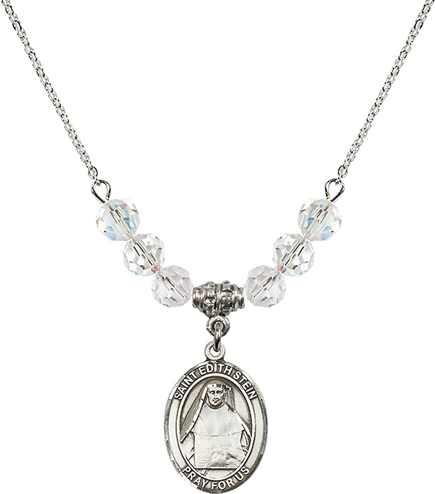 18-Inch Rhodium Plated Necklace with 6mm Crystal Birthstone Beads and Sterling Silver Saint Edith Stein Charm.