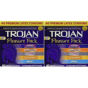 Trojan, Pleasure Pack Premium Lubricated Latex Condoms 40 Count kzndv (Pack of 2)