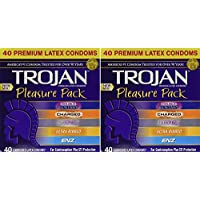 Trojan, Pleasure Pack Premium Lubricated Latex Condoms 40 Count kzndv (Pack of 2)
