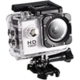 Acouto Action Camera Ultra HD 1080P 12M 2 Inch Screen Wifi Sport Cam 90 Degree Wide Angle Underwater 30m with Waterproof Housing Case and More Accessories Kits (white)