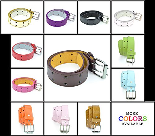 Kids Two Hole Belt 2 Holes Double Prong Buckle PU Leather Glittery Sparkly